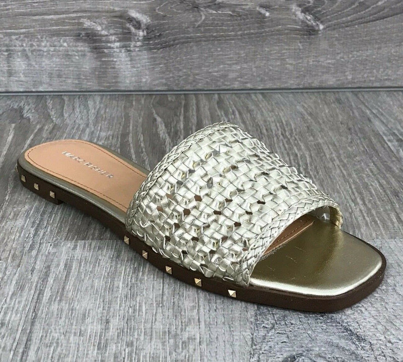 NIB $79 Marc Fisher Jeremy2 Slide Sandals, Gold Sz. 6US, 6.5US