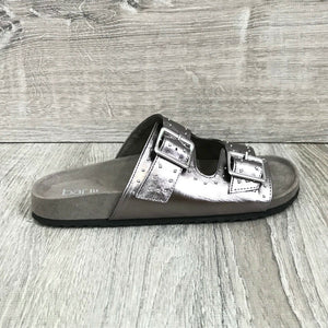 NIB Bar III Mealissa Foodbed Studded Sandals, Pewter Sz. 6M