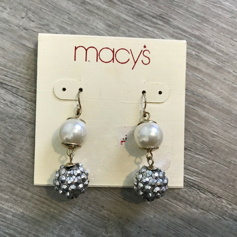 NEW MACYS Imitation Pearls Ball Drop Earrings