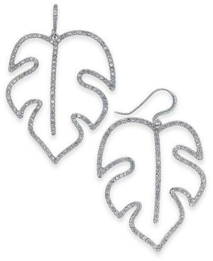 NEW INC International Concepts Silver-Tone Pave Palm Leaf Crystals Earrings