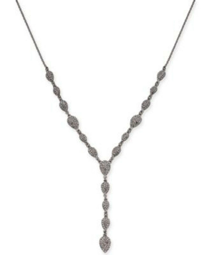 NEW INC International Concepts Silver Tone Pave Crystal Pear Necklace