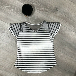 NWT Belle Du Jour Big Girls Ruffle Sleeves Striped Top & Pom Pom Key chain, Sz.S