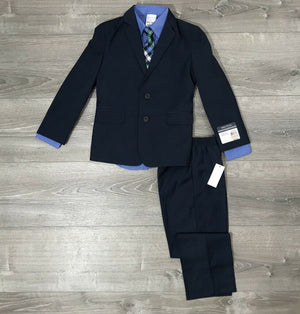 NEW NAUTICA 4 Piece Suit Jacket, Pants, Shirt and Tie Set, Navy Sz. 5, 7