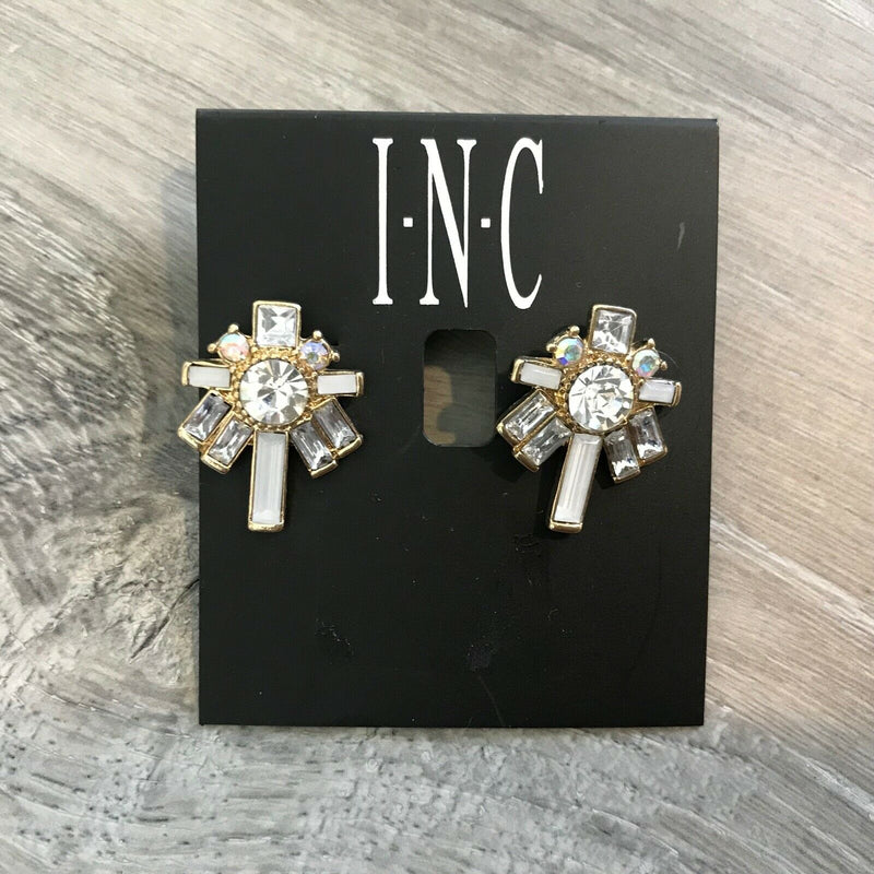NEW INC International Concepts Crystal White Flower Stone Stud Earrings