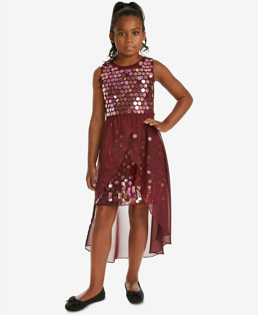 NWT Rare Editions Big Girls Sequin Overlay Party Dress, Burgundy Sz. 10