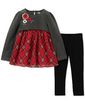 NEW Kids Headquarters Baby Girl 2 Piece Plaid Tunic & Leggings Set