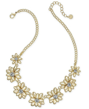 NWT Charter Club Gold Tone Crystal & Stone Flower Statement Necklace