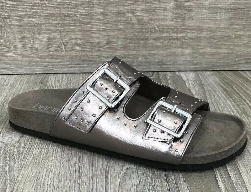 NIB Bar III Mealissa Foodbed Studded Sandals, Pewter Sz. 6.5M