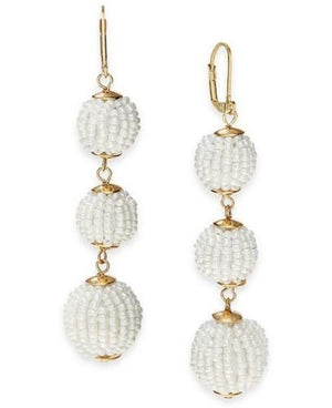 NEW INC International Concept Beaded Sphere Triple Drop Earrings, White