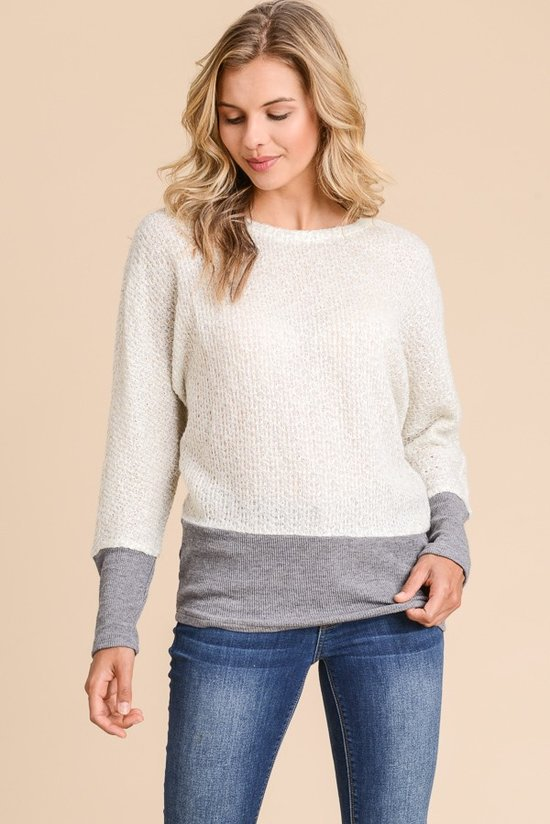 Natalya Side Slit Ivory/Grey Sweater