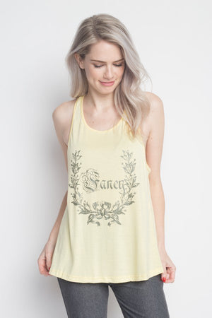 "Soft ""Fancy"" Flare sleeveless Tank Top, Yellow"