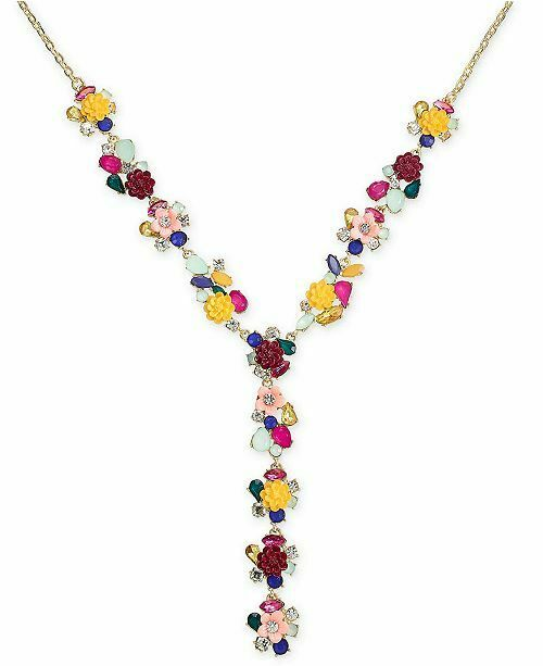 NWT INC International Concepts Gold Tone Flower Motif Y Necklace