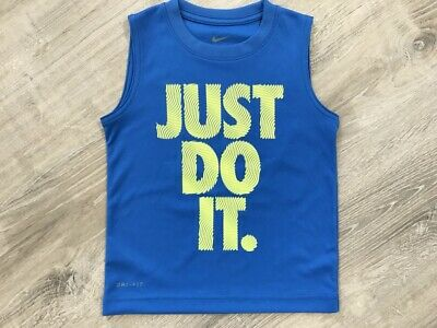 NEW Nike Boys Just Do It Print Sleeveless T-Shirt, Blue Multiple Sizes