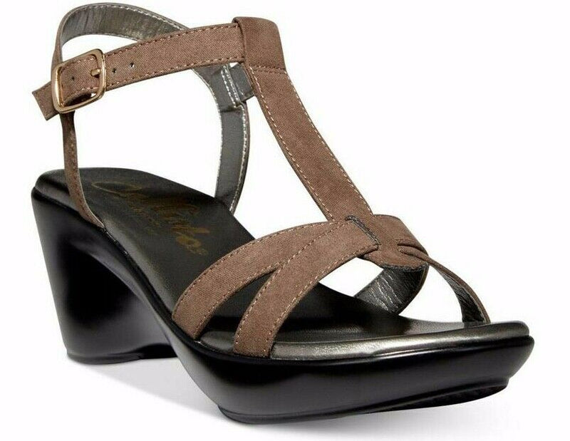 NIB $90 Callisto Women's Kali Faux Suede Wedge Sandals, Taupe 7M