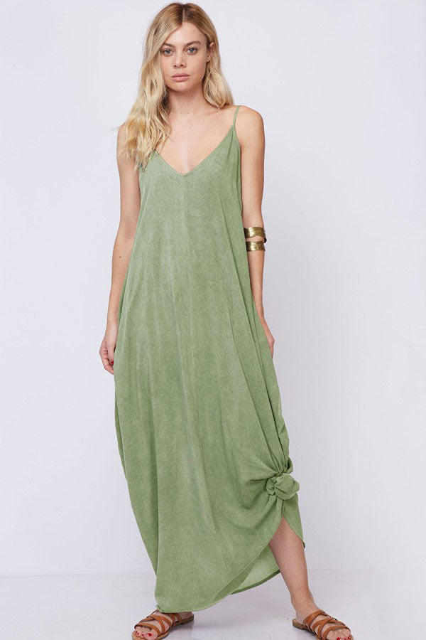 Hazel Washed Cami Straps Olive Maxi Dress