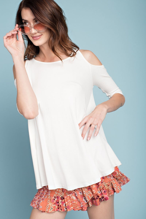 Jenna Cold Shoulder Crepe Knit Tunic, Off White