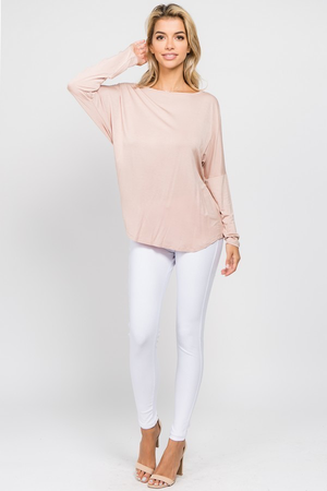 Angelique Open T-Strap Back Long Sleeve Top