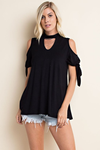 Alaina Jersey Cold Shoulder Top