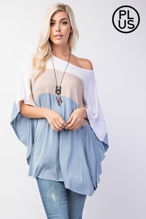 Bambi Plus Size Bat Wing Sleeve Poncho Style Top