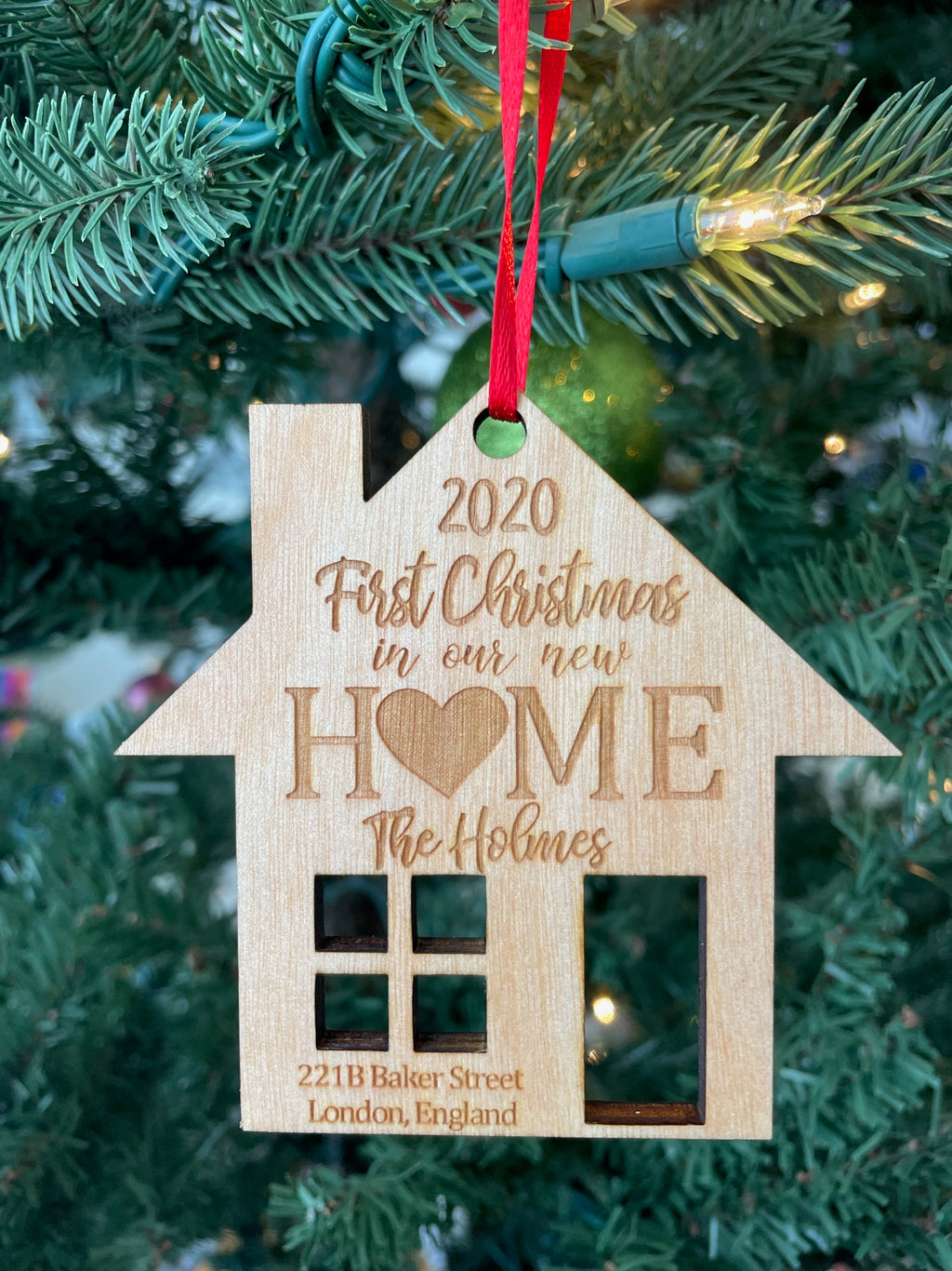 Personalized 2020 First Christmas in our new home Laser Cut Wooden Ornamentnt