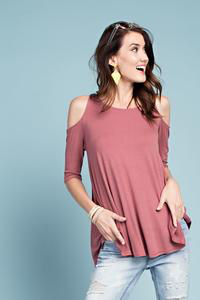 Jenna Cold Shoulder Crepe Knit Tunic