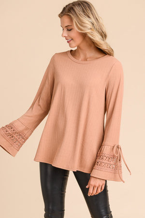 Micah Ribbed Ruffle Sleeve Sweater