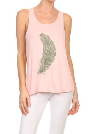 Soft Feather Flare sleeveless Tank Top, Pink