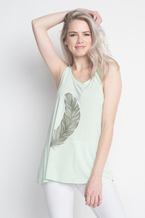 Soft Feather Flare sleeveless Tank Top, Mint