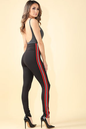 Sage Elastic High Waisted Stripe Detail Leggings