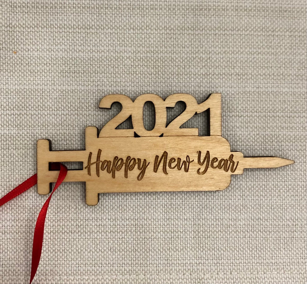 Vaccine 2021 Happy New Year Place Card / Ornament