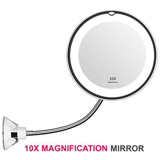 Flexible Light Up Mirror 10X Magnification Makeup Mirror