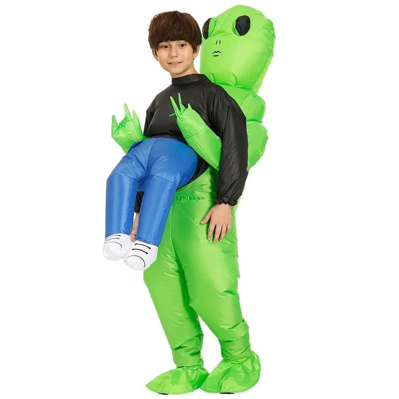 Green Alien Carrying Human Costume, Unique performance for Halloween