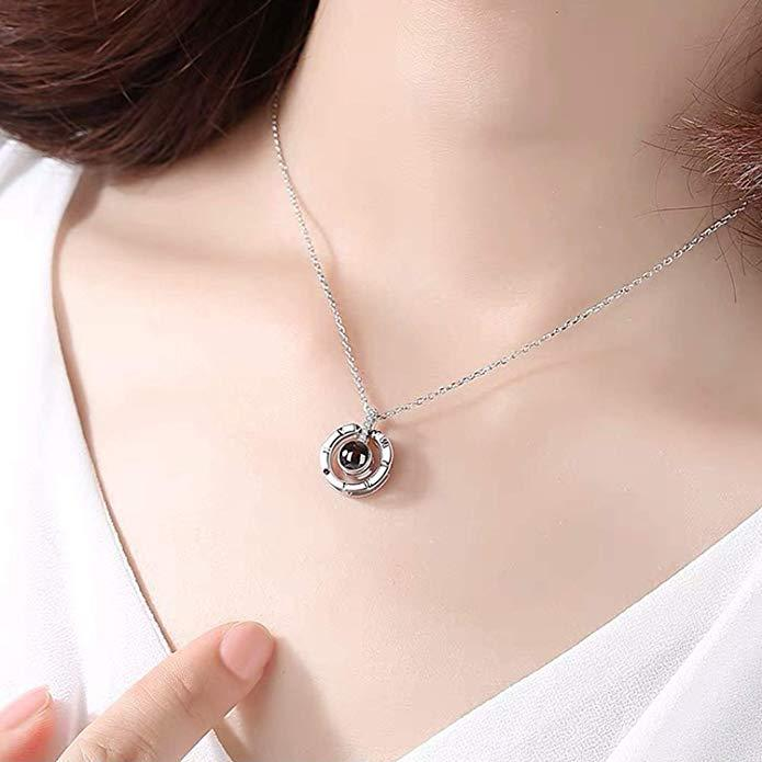 ROMANTIC 100 LANGUAGE 'I LOVE YOU' PROJECTIVE NECKLACE & RING