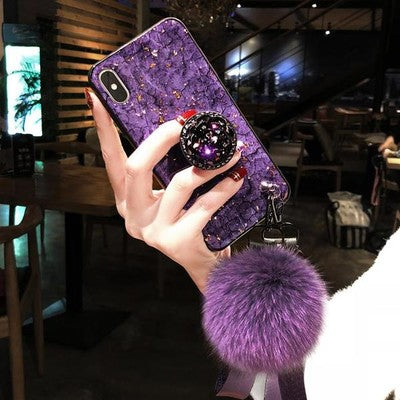 Glitter Fur Hair Ball+Crystal Bracket+Strap Phone Case For iPhone (50%Off Today)