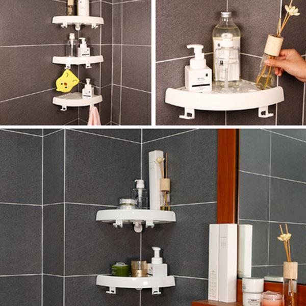 Improved version Corner storage rack with hooked non-marking frame for easy installation