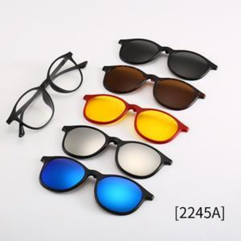 Magnetic Lens Swappable Sunglasses-5 colorful lenses