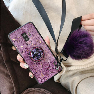 Bracket+Hair ball+Lanyard Phone Case  For SAMSUNG(50%OFF Today)