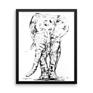 African Elephant Print with Frame