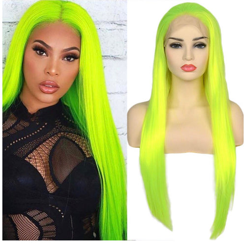 Lime green lace front Wig