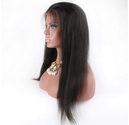 Human Hair Brazilian Straight  Lace Front Wig
