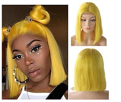 "Human Hair 10"" Lace Front Bob Wigs"
