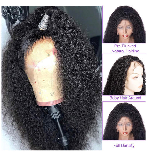 Human Hair Brazilian Kinky Curly Lace Front Wig