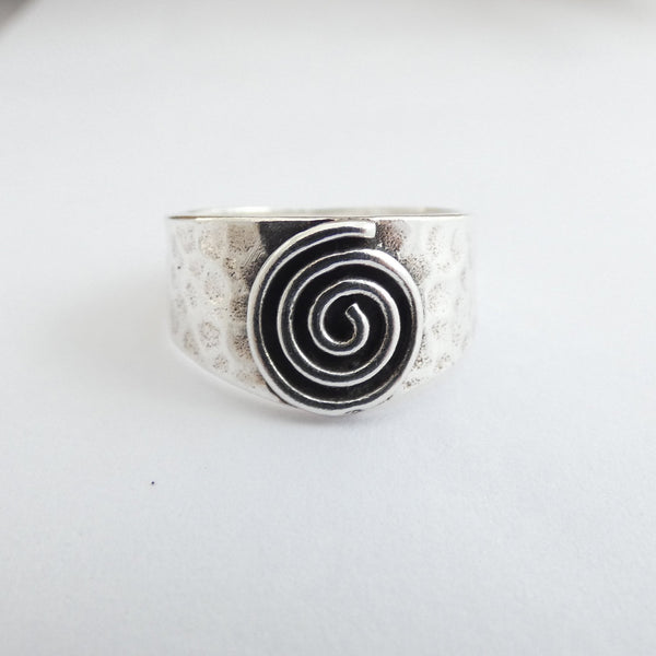 Chunky Hammered Silver Ring with Silver Spiral