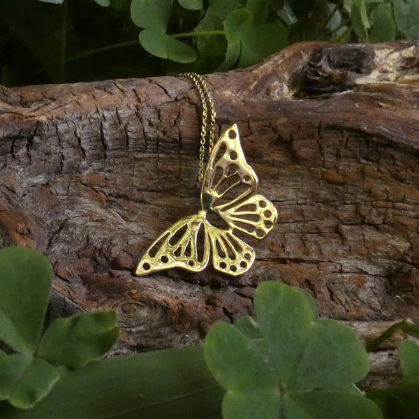 10Carat Solid Gold Butterfly Necklace Nature lover Symbol Beauty and Transformation Ór