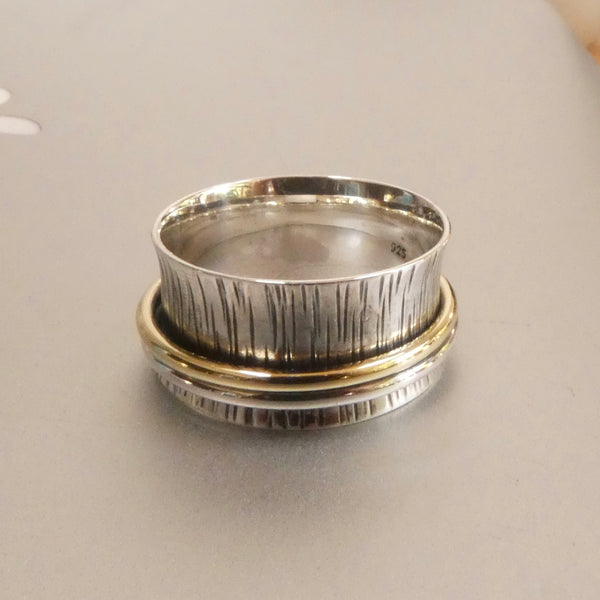 Sterling Silver organic textured tree bark stress ring