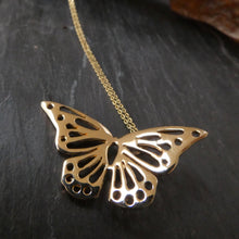 Load image into Gallery viewer, 10Carat Solid Gold Butterfly Necklace Nature lover Symbol Beauty and Transformation Ór