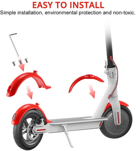Front and Rear Fender Mudguard replacements compatible with Xiaomi M365/Pro Electric Scooter in RED color