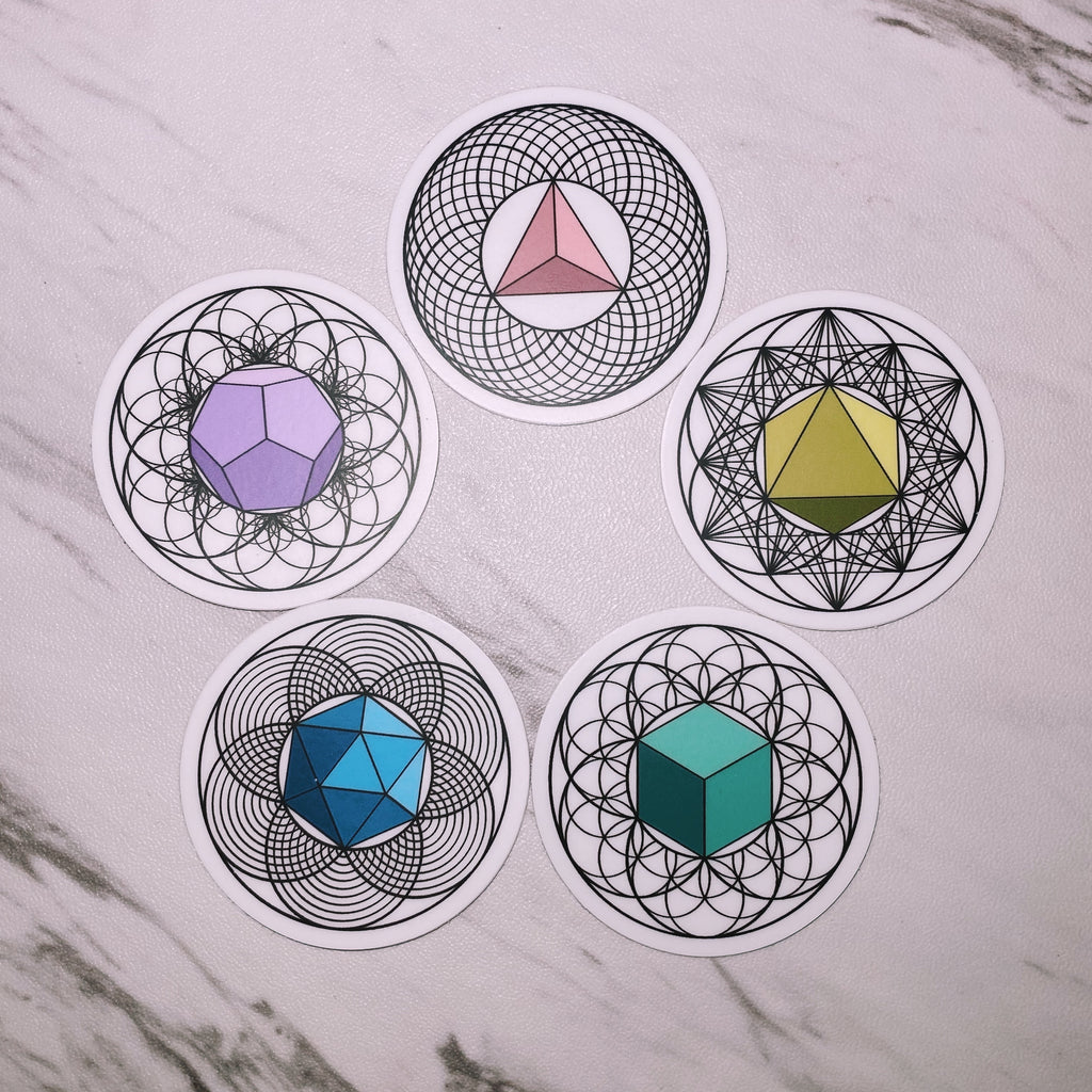 PLATONIC SOLIDS Sticker Pack (5)