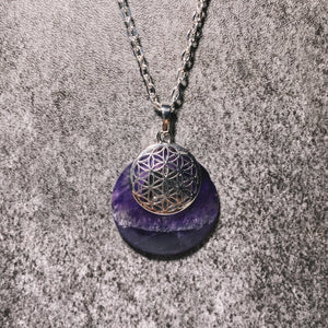 (1) Amethyst Flower Of Life Pendant