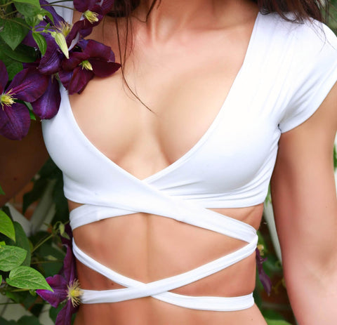 White Sleeve Swimsuit Top